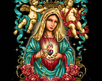 Virgin Mary T Shirt Womans Quality T Shirt Top Giant Graphic