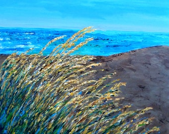 Original Acrylic Ocean Seascape Reeds Sea Oats Painting on 36 x 36 x 1.25 Gallery Wrapped Canvas commission custom  ships free in 5-7 bus