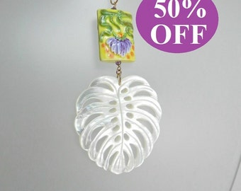 NOW 50% OFF  Mother of Pearl Leaf with Porcelain Lotus Bead on a Gold Filled Chain