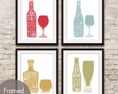 Red Wine, White Wine, Whiskey and Beer (Top Shelf Alcohol Series B) Set of 4 - Art Prints (Featured in Assorted Colors)