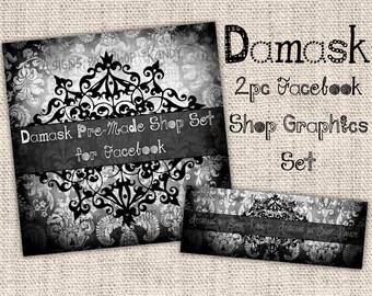 Damask Chalkboard Facebook Timeline Set - Facebook Profile Image - Damask Timeline Cover - Chalkboard Shop Banner Set - DIY Download Banner