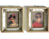 "Vintage White and Gold Frames - Shadow Box Pictures - Wall Art Prints - Victorian Portraits by Colette - 7 1/2"" High - Set of 2"