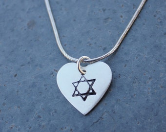 Star of David Heart Necklace - handmade fine silver charm on sterling silver snake chain -  Jewish symbol, Judaism -free shipping USA