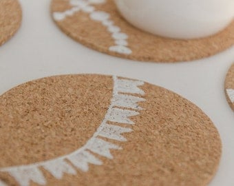 Hand Painted Cork Coasters with Bunting Design