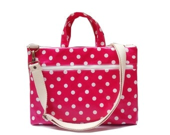 Waterproof - Macbook or Laptop bag with handles and detachable shoulder strap- Polka dots in pink   -Ready to ship