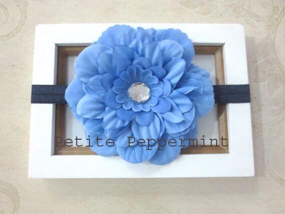 Blue Flower Baby Headband,Baby head band,blue baby hair bow,infant headband,toddler headband,blue flower headband,baby hair bow