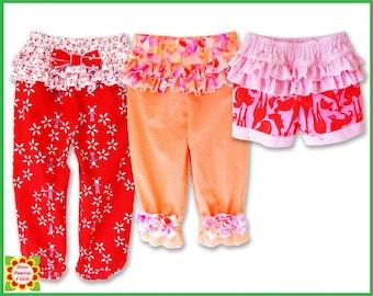 PANTS CAPRI SHORTS for Girls + Free Mother-Daughter Apron Pattern, Children, baby, Toddler, Supplies, Handmade, DressPatterns4Girls