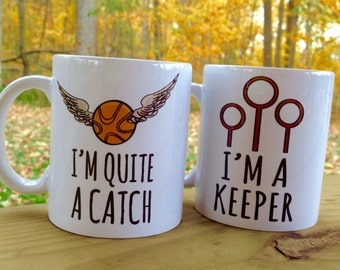 I'm Quite A Catch and I'm A Keeper Pair of Harry Potter Ceramic Mugs