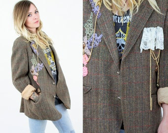 Vtg 90s Romantic BOHO Gyspy Hipster Revival Tweed Blazer // Floral Applique Chains & Metal Adornments // Chrubs Hearts Buttons //