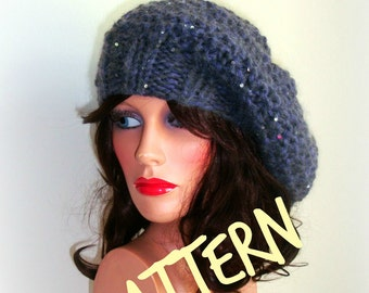 Knitting Pattern - Instant Download - Rustic Knitted Beret - French Slouchy Hat - Winter Accessories - Winter Womens Hat