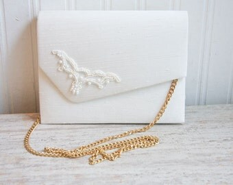 Vintage 80s Hand Bag NEW, White Wedding Purse, 1980s  Beaded Dyeables with Gold Chain, Bridesmaid or Mother of the Bride
