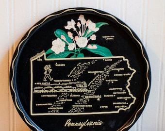Pennsylvania Tray, Souvenir Tray, Metal Tray, Pennsylvania Map, State Map, Mid Century Tray, Black, Gold, Travel, Home Decor, PA History