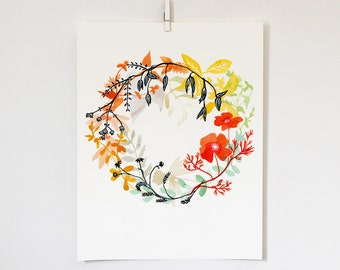 Happiness Wreath Print