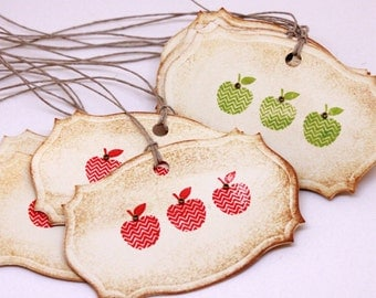 Apple Gift Tags (Double Layered) - Vintage Inspired Apple Tags - Autumn Gift Tags - Fall Gift Tags - Canning Labels - Set of 8