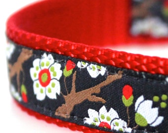 Cherry Blossoms Navy  Dog Collar, Adjustable Flower Dog Collar, Japanese