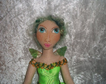 Beautiful One of  Kind Fairy Doll Hand Crafted Shelf Sitter