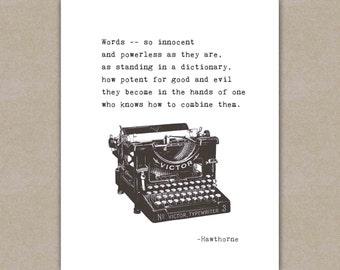 Inspirational print, typewriter typography, writer quote, graduation gift, Nathaniel Hawthorne