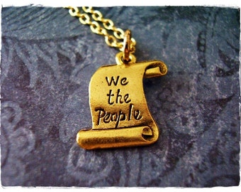 Gold US Constitution Necklace - Antique Gold Pewter US Constitution Charm on a Delicate Gold Plated Cable Chain or Charm Only
