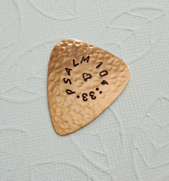 CUSTOM Guitar Pick - Personalized COPPER Guitar Pick - 7th Anniversary - Functional and Useable - Gifts for Him - Guitarist Gift - Musician