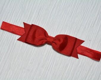Red Bow Headband/ Red Baby Bow Headband/ Red Baby Headband/ Baby Hair Accessories/ Girls Hair Accessories/ Snow White Headband/ 4th of July