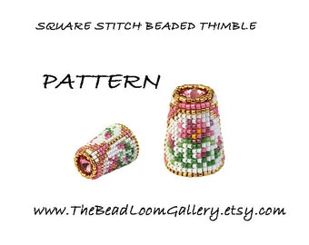 Beaded Thimble with Swarovski Rivoli Top - Delica Beads PDF PATTERN - Square Stitch - Vol.40 - The October Cosmo Thimble