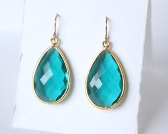 Medium Gold Vermeil Rainforest Green Quartz Earrings