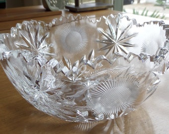 American Brilliant Era Cut Glass Crystal Bowl Perfect Condition