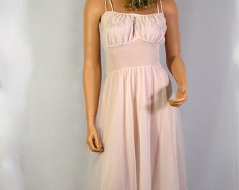 Vintage Sexy Blush Pink Van Raalte Chiffon Nylon Myth Nightie Nightgown Sz Med Bust 36 - Free USA Shipping