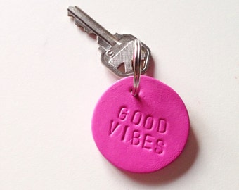 Good Vibes Only hand stamped circle key fob leather ooak made to order
