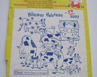 HILARIOUS HOLSTEINS - Aunt Martha's Hot Iron Transfers - 3893 - Never Used
