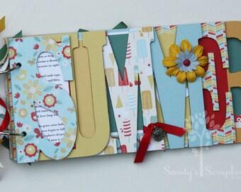 Summer scrapbook, Pre-made scrapbook for family summer memories, chipboard word album, vacation photos, bright -SUM1