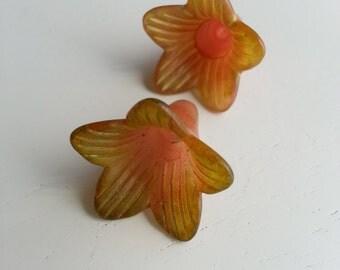 Vintage Meadow Artworks Acrylic  Pair Trumpet Flowers Pink/Peach Greenish TP206