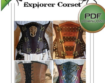 """NEW! Explorer Underbust Corset Sewing Pattern. Instant download. Large 32 -34 -36"""" waists"""