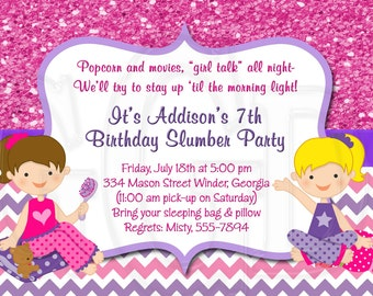 Slumber Party Invitation Pajama Party  -Digital File