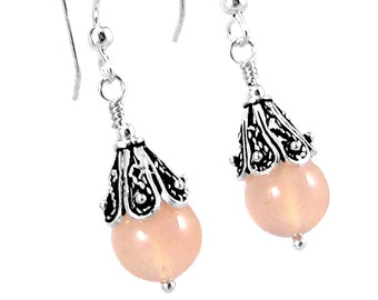Pink Chalcedony and Bali Sterling Silver Earrings