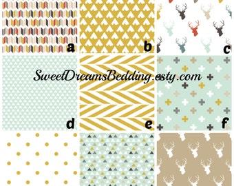 Custom Crib Bedding You Design   Bumper and Bedskirt Deer Mint Tan Gold