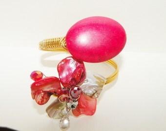 Red Hot Floral Cuff Bracelet 1980s
