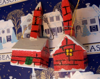 two tiny wooden red brick ornaments