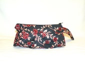Pleated Wristlet in Deep Red and Cream Floral Pattern on Black and Charcoal Hatch Pattern