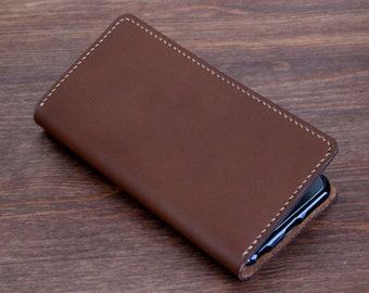 Hand Stitched Nexus / Galaxy / Galaxy Note / LG wallet with a silicone case in MILK CHOCOLATE (Free Personalization)