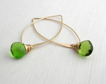 Long Parrot Green Quartz Earrings