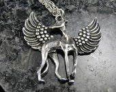 Greyhound Angel Pendant Necklace - Silver Plated Charm on 18 inch silver rope chain