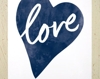 Typographic Love Heart digital print - navy blue. Watercolour love print by Erupt Prints. Large size