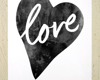 Love Heart typographic art print - black. Watercolour inspirational print in large size