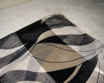 Vintage print long scarf, black and tan,