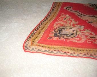 Vintage scarf; sheer, oblong, red, beige, black