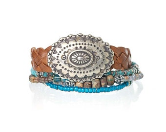 Braided leather multistrand bracelet with antique silver concho - cowgirl jewelry - boho chic bracelet - bohemian jewelry - leather jewelry