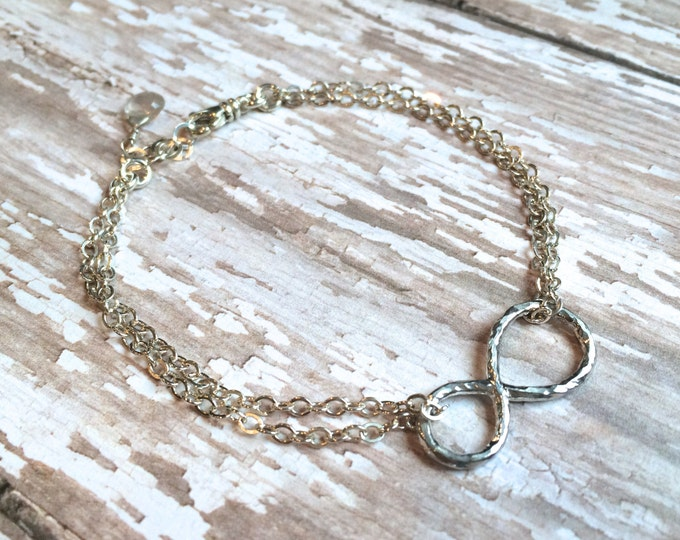 Infinity Link Silver Bracelet--Double Silver Chain
