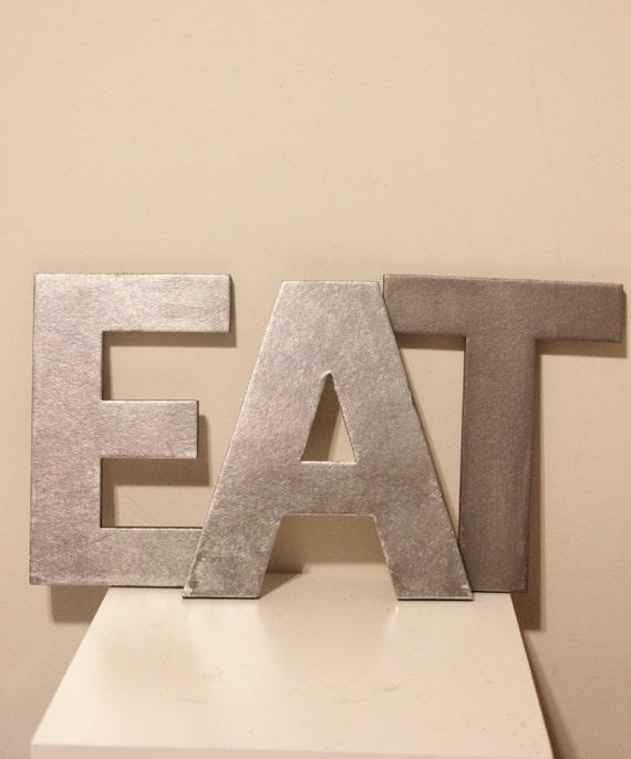 3 Faux Metal Letters Zinc Steel Initial Home Room Decor Eat