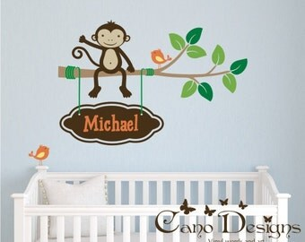Monkey sitting on a  Branch with birds and custom name,  Kids Vinyl Wall Decal Sticker Set, nursery, removable wall decal set